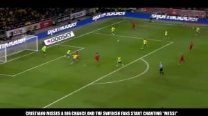 """戴帽回击!瑞典球迷对着C罗狂喊""""梅西""""后悲剧了"""